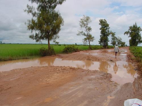 【写真】未舗装の道に比べれば舗装路はだいぶよい。(写真はイメージ、カンボジア)