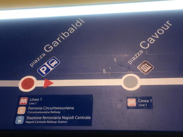 [写真】Linea2もナポリ中央駅からの乗車駅名は「Garibaldi」