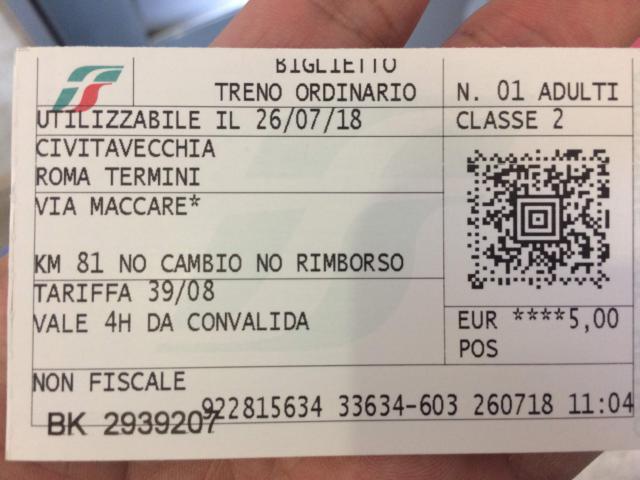 チビタベッキアからローマテルミニチケット