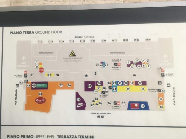 テルミニ駅地上階の構内図