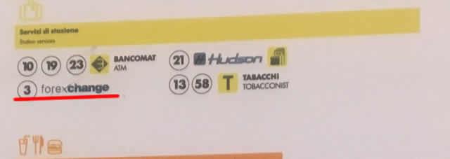 【写真】テルミニ駅地下の両替所は一つ
