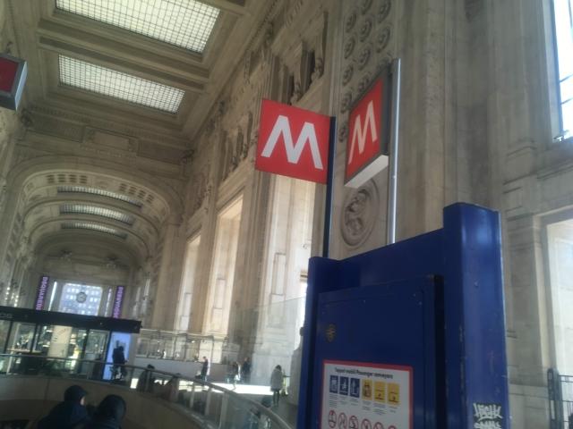 ミラノ中央駅から地下鉄へ