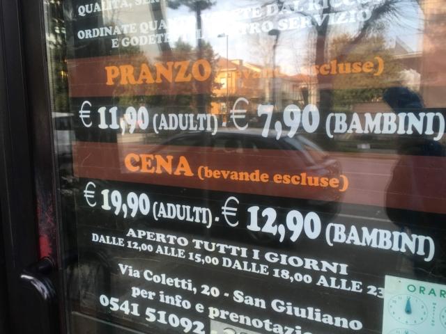 【写真】Sushi King料金、昼の部は11.9ユーロ