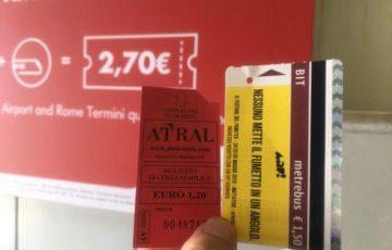 1.2ユーロシャトルバス左、1.5ユーロ地下鉄右で2.7ユーロ