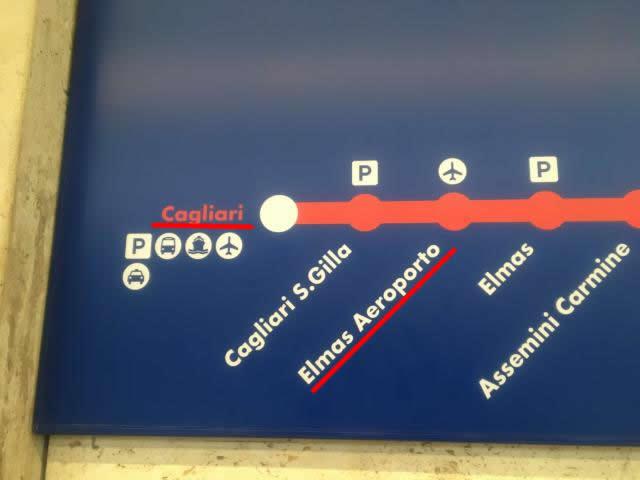 【写真】カリアリからエルマス空港へCagliari S.Gilla駅は停車しない