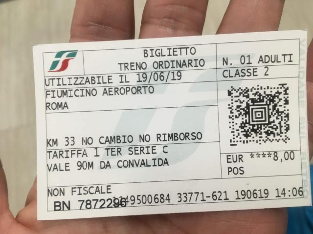 フィウミチーノ空港からローマ市内鈍行チケット