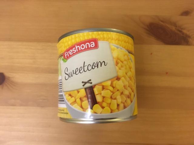 コーンの缶詰285gが0.59ユーロ71えん