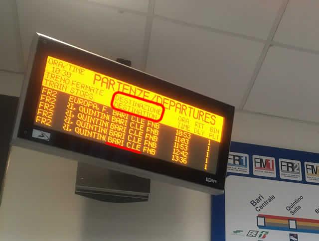 電車の時刻が表示されている