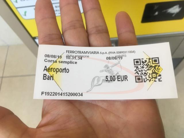 バーリ空港からバーリ中央駅までのチケット