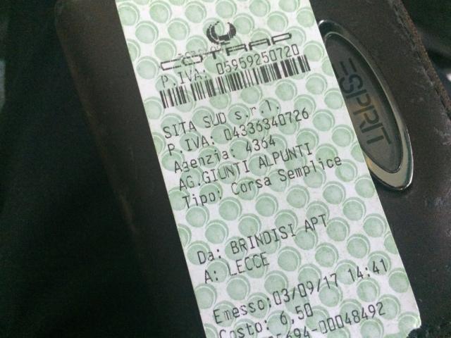 レッチェまでのチケットは6.5ユーロ(およそ780円)