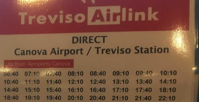 2019年9月時点トレヴィーソ空港発バス時刻表