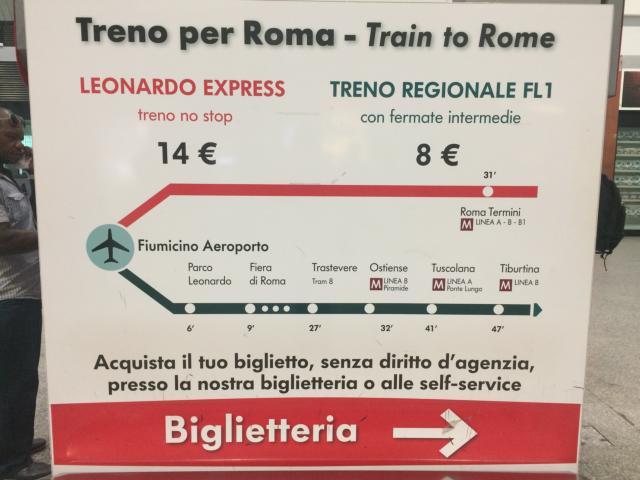 【写真】フィウミチーノ空港とローマ・テルミニ駅を32分で結ぶレオナルドエクスプレス