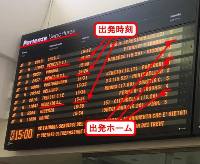 【写真】出発時刻とホームを確認
