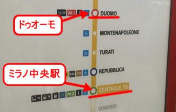 ドゥオーモはミラノ中央駅から4駅目