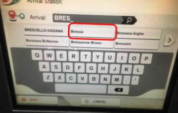 【画面】表示された行き先駅名の中からBresciaを選択