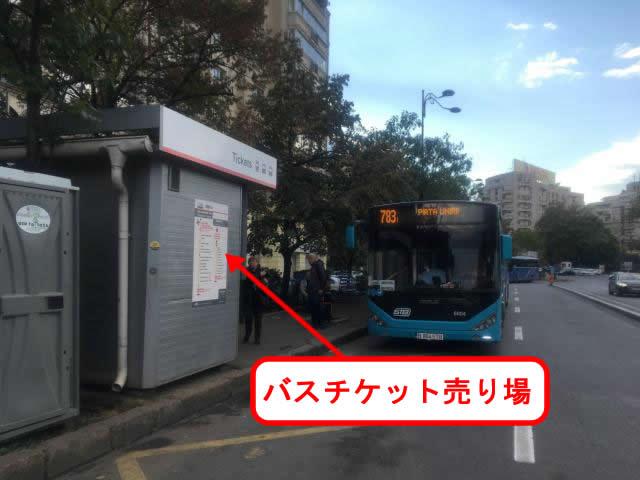 783番のバス停にはバスチケット売り場がある