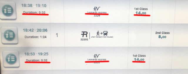【画面】表の中央に「Leonardo Express」と表示されているのがレオナルドエクスプレス