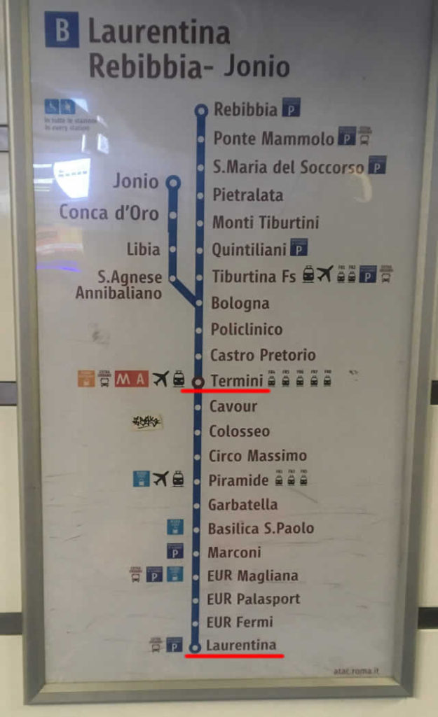 【写真】地下鉄B線の路線図、終点の一つがLaurentina