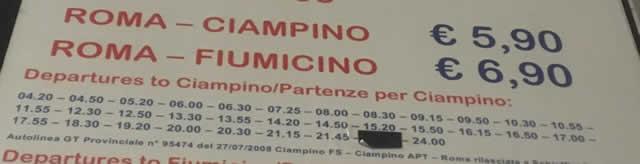 【写真】チャンピーノ行きのシャトルバス時刻表