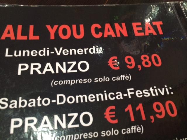 【写真】平日の昼なら一人9.98ユーロで食べ放題。