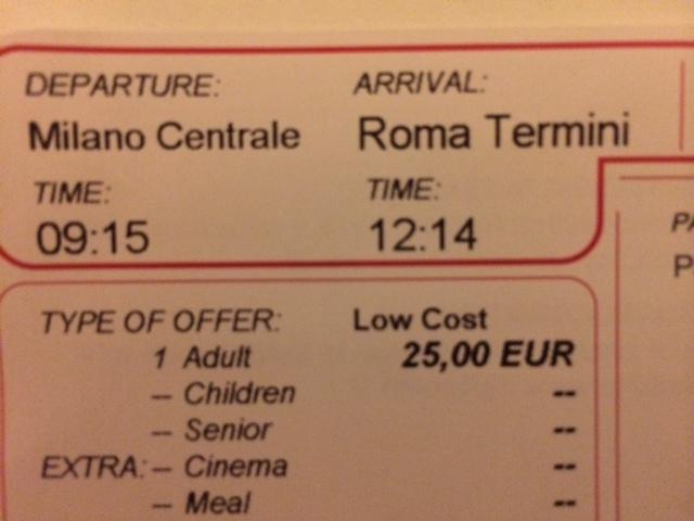 【写真】チケットにはミラノローマ間が2時間59分と記載されている。