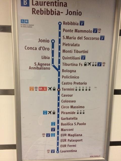 【写真】ローマ地下鉄B線の路線図。
