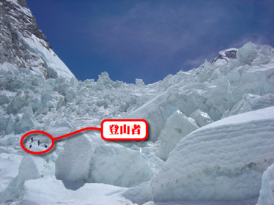 【写真】アイスフォール登攀中。大小様々な氷塊が天然の迷路を作り出している。
