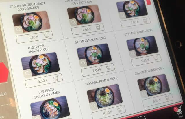 画面に表示されたラーメンのメニュー
